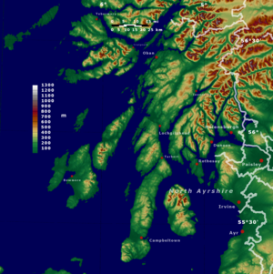 Argyll and Bute - Topographic map of Argyll and Bute
