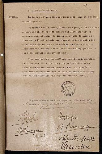 Armistice of 11 November 1918 - Last page of the Armistice agreement