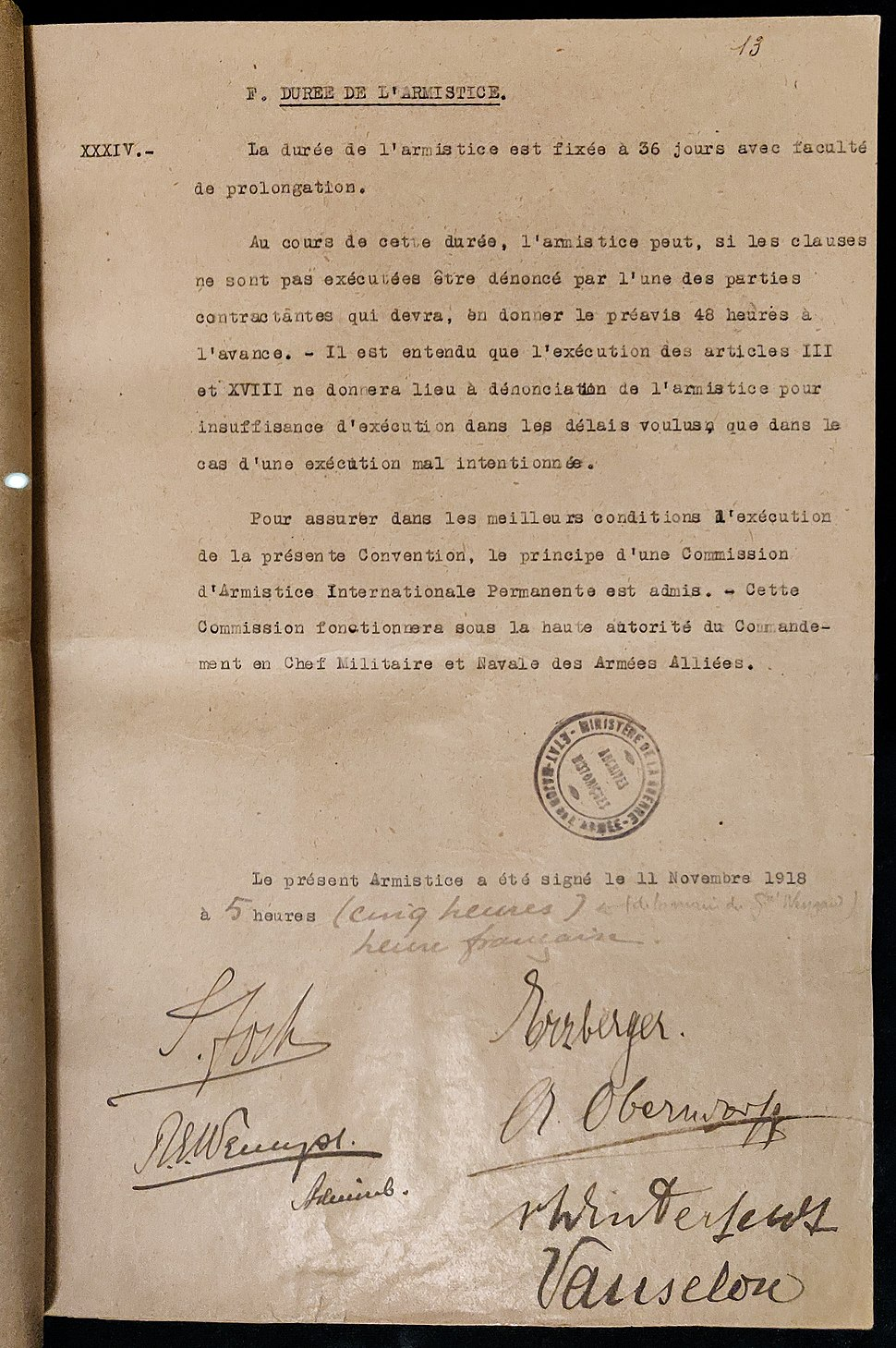 Armistice 18 novembre 1918