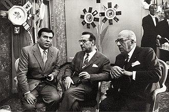 Gino Cervi - Cervi (left) with the Belgian author Georges Simenon and the Italian publisher Arnoldo Mondadori