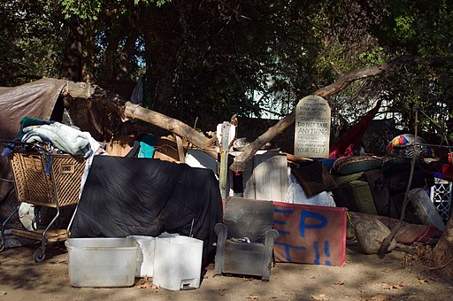 Arroyo Seco Homeless Encampment, Los Angeles County (photo by Levi Clancy, Creative Commons Attribution-Share Alike 4.0 International license)