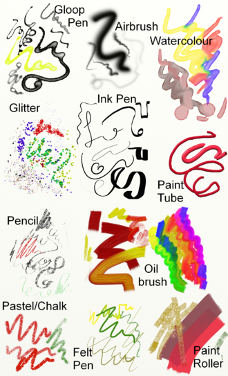 ArtRage - An example of the painting tools in ArtRage 4: Gloop Pen, Airbrush, Glitter, Ink Pen, Pencil, Oil Brush, Watercolor, Paint Tube, Paint Roller, Pastel/Chalk, Pencil, Felt Pen