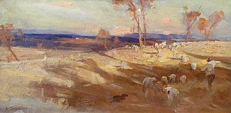 Golden Summer, Eaglemont - Streeton's Impression for Golden Summer (1888, Benalla Art Gallery) was included in the 9 by 5 Impression Exhibition of 1889.