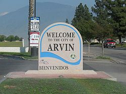 """Welcome to Arvin"" sign"