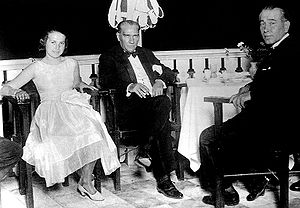 Yalova - Mustafa Kemal Atatürk with Ali Fethi Okyar and Okyar's daughter in Yalova, on August 13, 1930