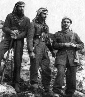 Abdel Hamid al-Sarraj - Sarraj (centre) with army comrades, Mohammad Attura (left) and Abdel Salam al-Ujyali (right), at the battlefront in Palestine, 1948