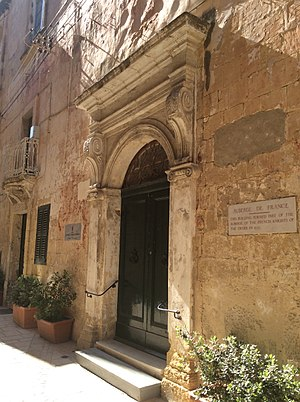 Bartolommeo Genga - Auberge de France in Birgu, Malta, whose façade was redesigned by Genga