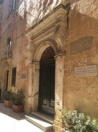 Bartolommeo Genga - Auberge de France in Birgu, Malta, whose façade was redesigned by Genga