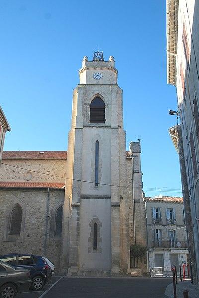 Autignac (Hérault) - clocher de l'église Saint-Martin.