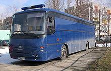 A Polish Autosan (A1010T LIDER) police bus
