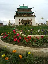 Pagoda-style temple, with flower garden in front