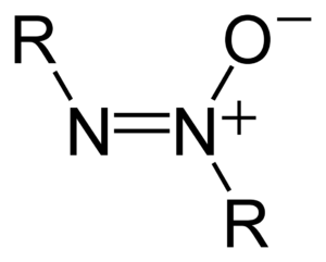 Azoxy - The structure of the azoxy functional group, where R is a substituent.