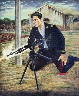 Mexican Navy - Depiction of Mexican Navy Lieutenant José Azueta firing a French Hotchkiss machine gun in the defense of Veracruz during the Second U.S. intervention of the Mexican Revolution, painting at the Naval Historical Museum in Mexico City