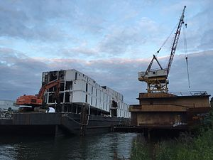Google barges - BAL0010 being demolished in Seattle, Washington, May 2016