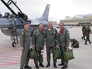 Bob Beauprez - Bob Beauprez, third from left, following a flight in an F-16 over Colorado.