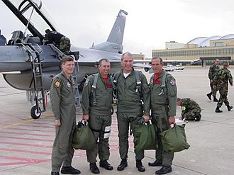 Bob Beauprez - Bob Beauprez, third from left, following a flight in an F-16 over Colorado.