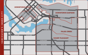 Building Opportunities with Business - Vancouver's inner city. The dark grey areas are where BOB's efforts are focused as per the Vancouver Agreement.