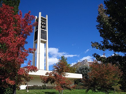 The BYU Centennial Carillon stands at the north end of campus. BYUclarillon.jpg