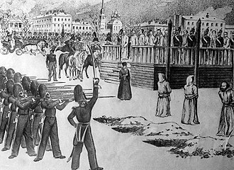 Fyodor Dostoevsky - A sketch of the Petrashevsky Circle mock execution