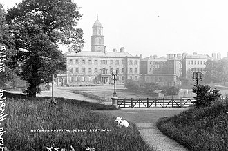 Rotunda Hospital - Back of the hospital, showing tennis courts. ca. 1890s