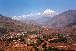 Baglung Bazar seen from Bhakunde VDC with views of دہولاگری