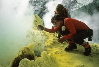 Mount Baker - Sampling fumarole gas at Sherman Crater in 1981