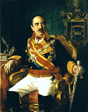 Baldomero Espartero, Prince of Vergara - Portrait of the Prince of Vergara, by José Casado del Alisal. Picture gallery of the Spanish Congress of Deputies.