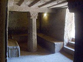 Interior of an Etruscan tomb in the Banditaccia necropolis.