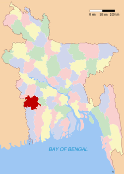 Location of Jessore in Bangladesh