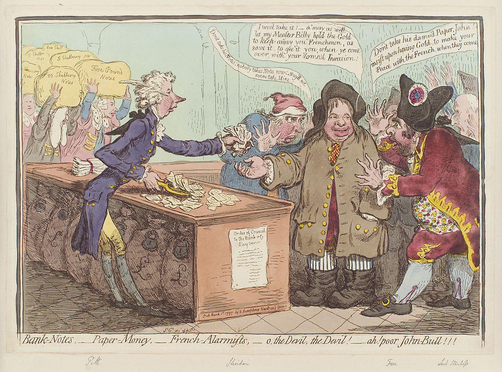 Bank-notes, - paper-money, - French-alarmists, - o, the devil, the devil! - ah! poor John Bull!!! by James Gillray