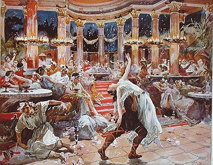 Banquet in Nero's Palace, an illustration from a 1910 print of Quo Vadis, a historical novel written by Nobel Prize laureate Henryk Sienkiewicz Banquet in Nero's palace - Ulpiano Checa y Sanz.jpg