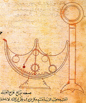 Banū Mūsā - An illustration of a self-trimming lamp from Ahmad's On Mechanical Devices, written in Arabic.