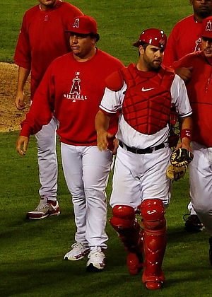 Bartolo Colón - Colón (left), with Mike Napoli, during his tenure with the Los Angeles Angels in 2007
