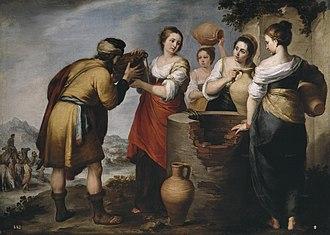 Rebecca - Rebecca and Eliezer by Bartolomé Esteban Murillo, 17th century.