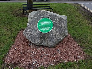Barwell - Barwell Meteorite Green Plaque, situated in the southern part of the village, close to the original meteorite fall