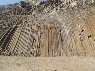 Porto Santo Island - A formation of Mugearite columns in the coastal region