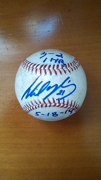 Wil Nieves - Baseball signed by Wil Nieves after Reds – Phillies game May 18, 2014