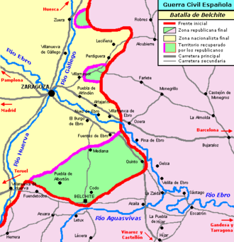 Battle of Belchite (1937) - Map of the surroundings where the Battle of Belchite was developed with indication of initial and final situation
