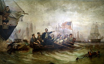 "Oliver Hazard Perry's message to William Henry Harrison after the Battle of Lake Erie began with: ""We have met the enemy and they are ours"". Battle erie.jpg"