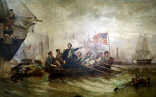 "Oliver Hazard Perry's message to William Henry Harrison after the Battle of Lake Erie began with what would become one of the most famous sentences in American military history: ""We have met the enemy and they are ours"". This 1865 painting by William H. Powell shows Perry transferring to a different ship during the battle. Battle erie.jpg"