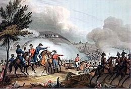 Colored print shows the Battle of Salamanca. Wellington and his staff are at left center while the rest of the picture shows Allied troops rushing into battle.