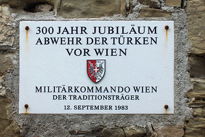 Plaque memorializing the 300th anniversary of successful defense against the Ottomans at the gates of Vienna - Battle of Vienna