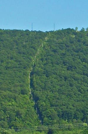 Mount Beacon Incline Railway - Incline railway route seen from city in 2006