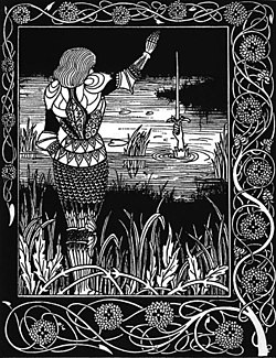 How Sir Bedivere Cast the Sword Excalibur into the Water. Illustration by Aubrey Beardsley, 1894.