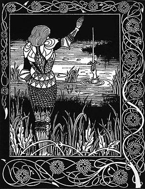 "Thomas Malory - An Aubrey Beardsley illustration for Malory's Le Morte d'Arthur, ""How Sir Bedivere Cast the Sword Excalibur into the Water"" (1894)"