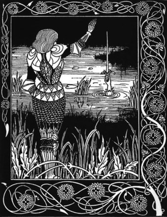 Sir Bedivere casts King Arthur's sword Excalibur back to the Lady of the Lake. The Arthurian Cycle has influenced British literature across languages and down the centuries.