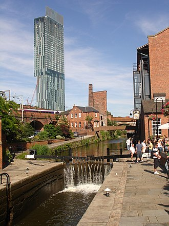 Manchester city centre - Castlefield retains much of its industrial character which is juxtaposed by modern buildings.