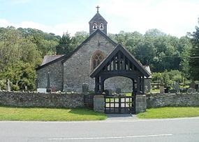 Bells, bell tower and lych gate, Church of St Cwrdaf, Llanwrda - geograph.org.uk - 2493469.jpg