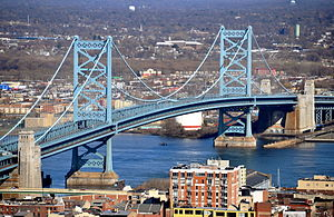 South Jersey - The Benjamin Franklin Bridge is the oldest of the four vehicular bridges connecting Philadelphia to South Jersey.