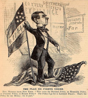 New York Daily News (19th century) - Benjamin Wood portrayed in August 31, 1861 issue of Harper's Weekly, refusing to fly the American flag at his paper and stomping on it, instead flying a Confederate flag with 4-11-44 on it, slang for the lottery; Wood owned a southern lottery.